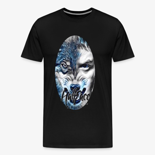 Wolf face Half face png (Black background only) - Men's Premium T-Shirt