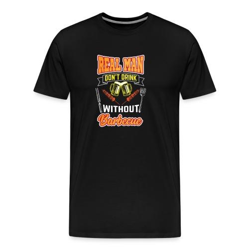 Drink und BBQ Grill Meister Design Geschenk Idee - Männer Premium T-Shirt