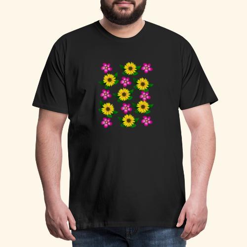 Sonnenblumen, pinke Blumen, floral, Blüten, pink - Männer Premium T-Shirt