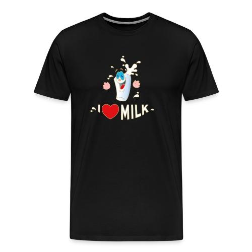 I love Milk Kuh Weide Sahne Schokolade Milchkaffee - Männer Premium T-Shirt