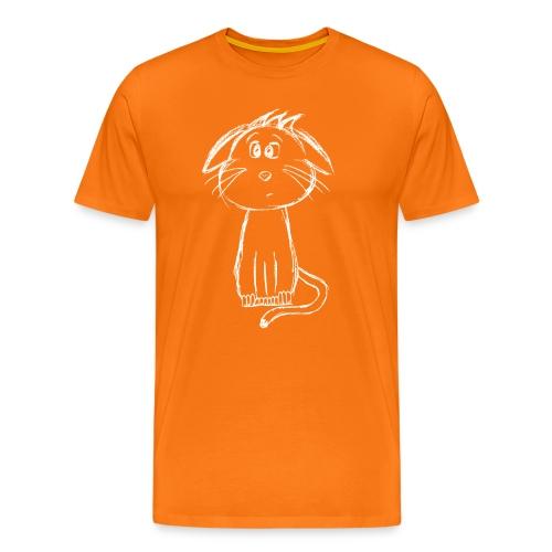 Kat kattunge hvid scribblesirii - Herre premium T-shirt