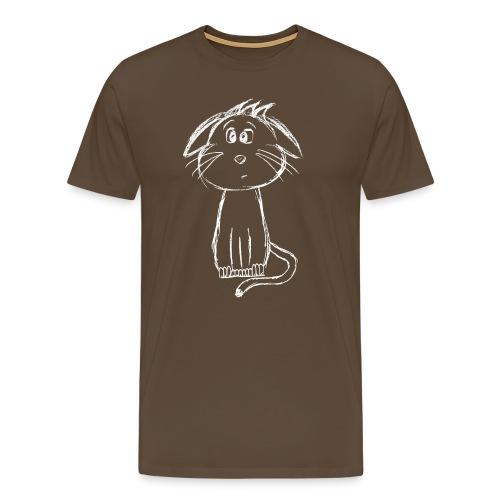 Kissa Kissanpentu valkoinen scribblesirii - Miesten premium t-paita
