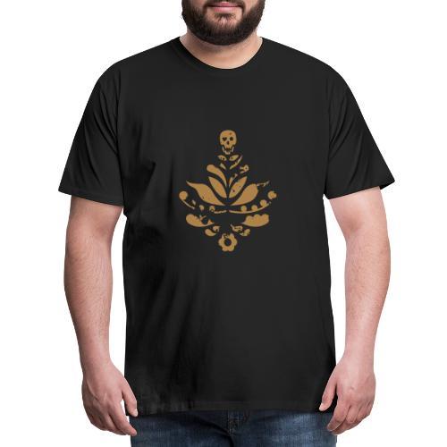 Kurbits Dödskalle Rough, guldfärg - Premium-T-shirt herr