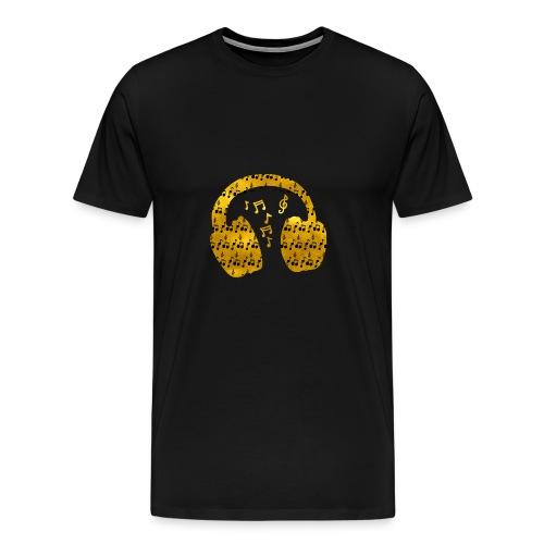 Music Notes HeadPhones Gold - Men's Premium T-Shirt
