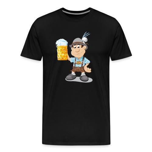 Bier Maßkrug Lederhosen Cartoon Man - Männer Premium T-Shirt