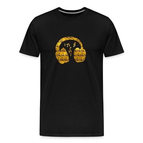 Music Notes HeadPhones Gold - Men's Premium T-Shirt