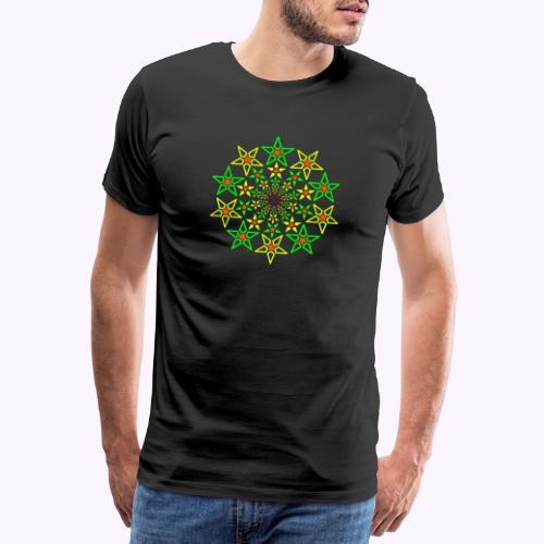 Fractal Star 3 -värinen neon - Miesten premium t-paita