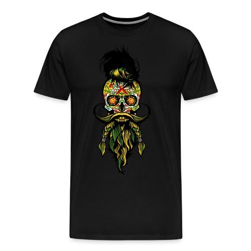 tete de mort mexicaine hipster barbu barbe moustac - T-shirt Premium Homme
