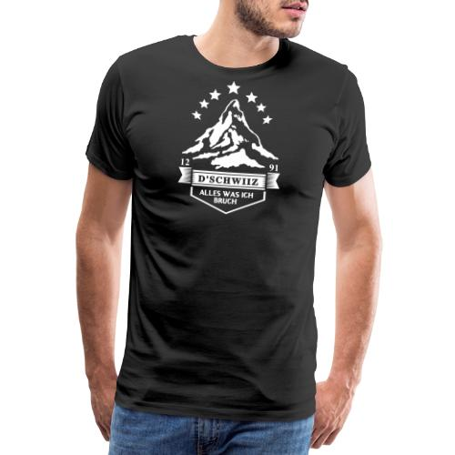 SCHWEIZER BERGE, SCHWEIZER WAPPEN, T-Shirt - Männer Premium T-Shirt
