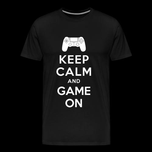keep_calm_game_on_white - Herre premium T-shirt