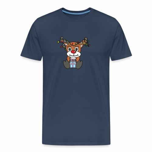 Rentier mit Lichterkette - Männer Premium T-Shirt