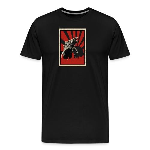 GodZilla red sun rays flare vintage movie poster - Men's Premium T-Shirt