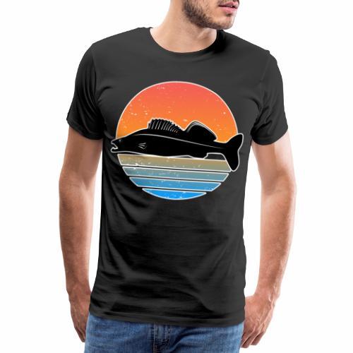 Retro Zander Angeln Fisch Wurm Raubfisch Shirt - Männer Premium T-Shirt