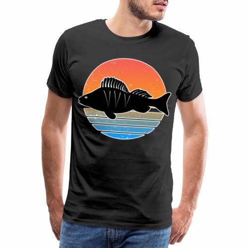 Retro Barsch Angeln Fisch Wurm Raubfisch Shirt - Männer Premium T-Shirt