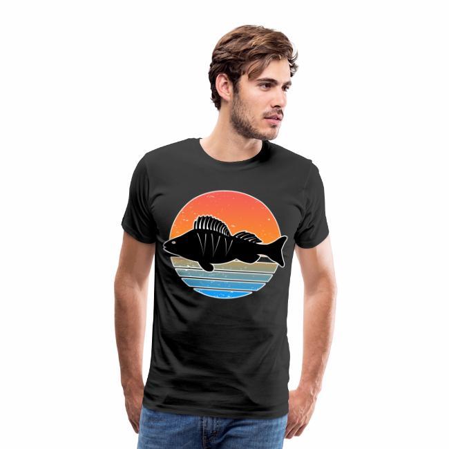 Retro Barsch Angeln Fisch Wurm Raubfisch Shirt