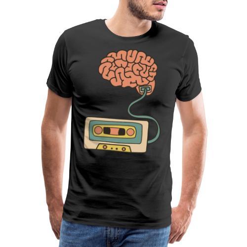 Musikkassette am Gehirn - Männer Premium T-Shirt