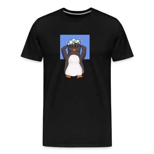 Penguin washing his hair - Men's Premium T-Shirt