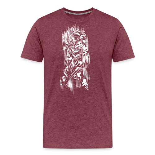 Samurai / White - Abstract Tatoo - Men's Premium T-Shirt