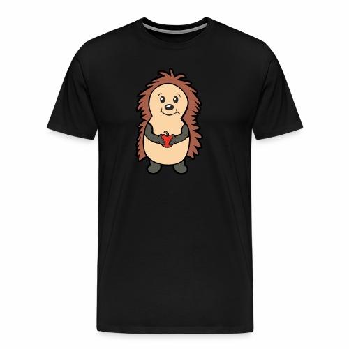Igel mit Apfel in den Händen - Männer Premium T-Shirt