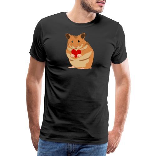 Hamster mit Herz - Hamsterliebe - Hamsterfan - Männer Premium T-Shirt