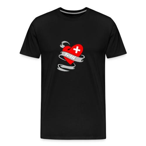 Mon coeur est pour la Suisse - Drapeau Switzerland - T-shirt Premium Homme
