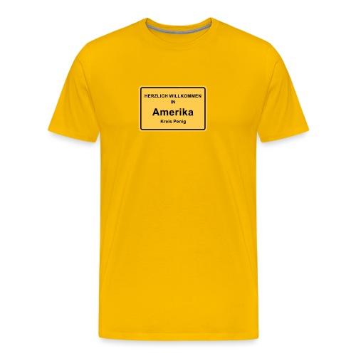 Ortsschild Amerika - Männer Premium T-Shirt