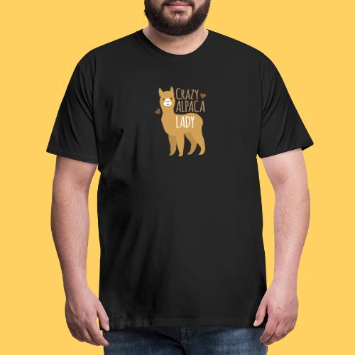 Crazy alpaca lady with love hearts - Men's Premium T-Shirt