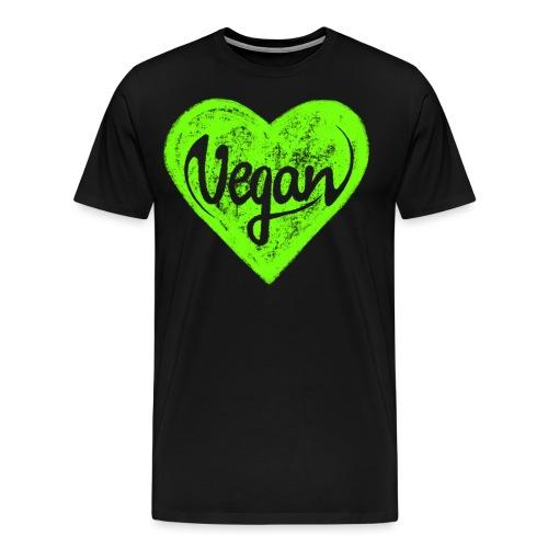 Vegan, Herz, I Love, Grün, Öko, Natur Ich Liebe - Männer Premium T-Shirt