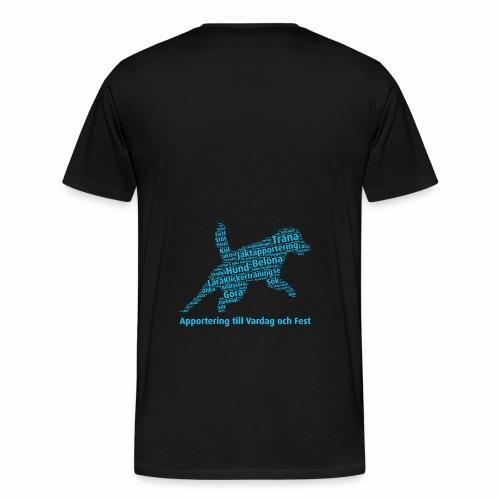 Apportering till vardag och fest wordcloud blått - Premium-T-shirt herr