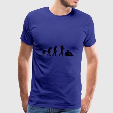 sitter man Evolution framsteg utveckling - Premium-T-shirt herr
