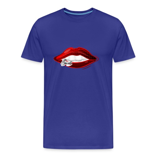 Lips with diamond ring - Mannen Premium T-shirt