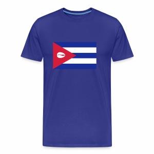 Bandera de Cuba con caracol para orgulloso santero - Mannen Premium T-shirt
