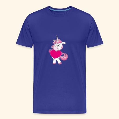 Unicorn Einhorn mit Herz Tees Shirt Gift Weihnacht - Männer Premium T-Shirt