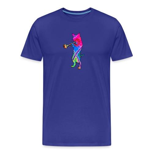 Jazz Cat plays the Trumpet - Men's Premium T-Shirt