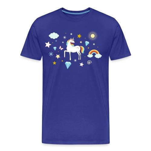 Einhorn Traumwelt Chaos Rainbow Unicorn Sterne - Männer Premium T-Shirt