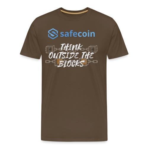SafeCoin; Think Outside the Blocks (blue + white) - Men's Premium T-Shirt