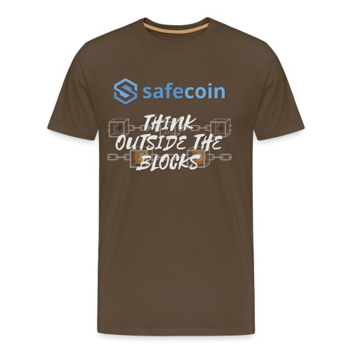 SafeCoin; Think Outside the Blocks (blue + white) - Men's Premium T-Shirt