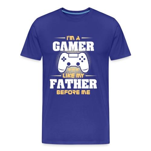 Gamer wie mein Vater Zocker Design & Geschenk - Männer Premium T-Shirt