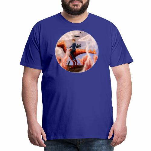 Flames-Dino-2 - Herre premium T-shirt