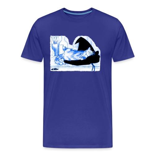 Tyrrin Hexenkater auf Hut (blau) - Männer Premium T-Shirt