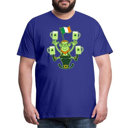 Leprechaun Juggling Beers and Irish Flag - Men's Premium T-Shirt