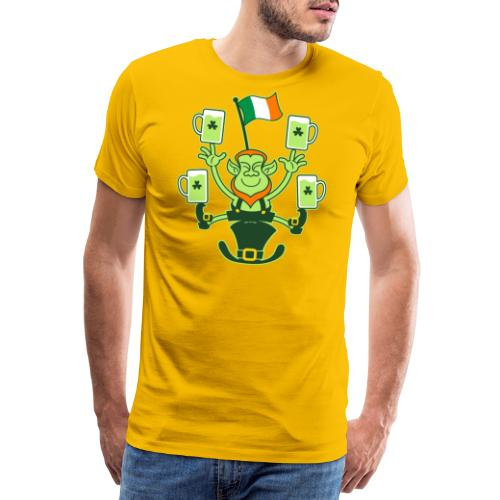 Leprechaun Juggling Beers and Irish Flag - Men's Premium T-Shirt