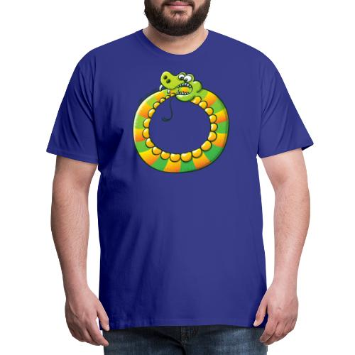 Crazy Snake Biting its own Tail - Men's Premium T-Shirt