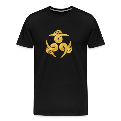 Three Geese Japanese Kamon in gold - Men's Premium T-Shirt