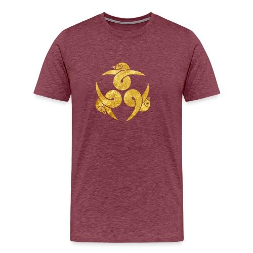 Three Geese Japanese Kamon in gold - Men's Premium T-Shirt