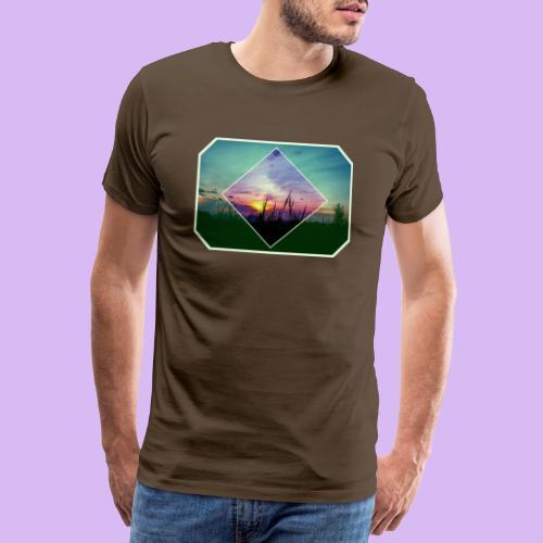 Tramonto in risalto tra figure geometriche - Maglietta Premium da uomo
