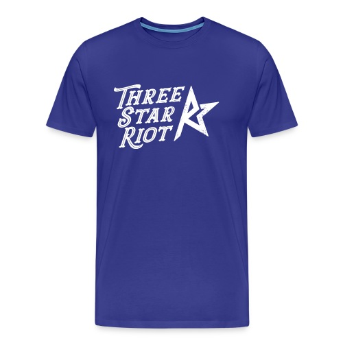Three Star Riot logo vaalea - Miesten premium t-paita