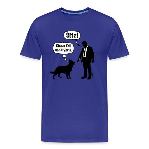 Cartoon, Hund & Herrchen: Sitz! Hybris. (2C) - Männer Premium T-Shirt