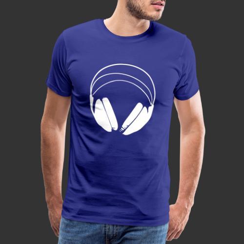Casque blanc, logo de podradio vectorisé - T-shirt Premium Homme