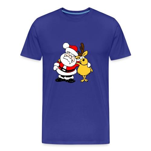 Santa and Reindeer - Men's Premium T-Shirt